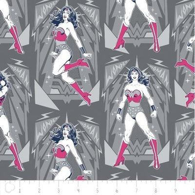 DC Comics Wonder Woman Poses Gray 100% Cotton Fabric