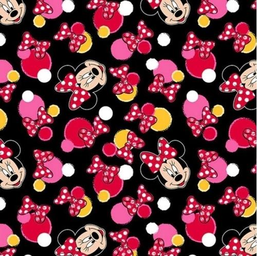 Disney Minnie Mouse Black 100% Cotton Fabric