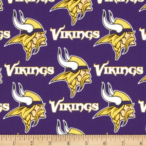 NFL Cotton Broadcloth Minnesota Vikings 100% Cotton Print Fabric