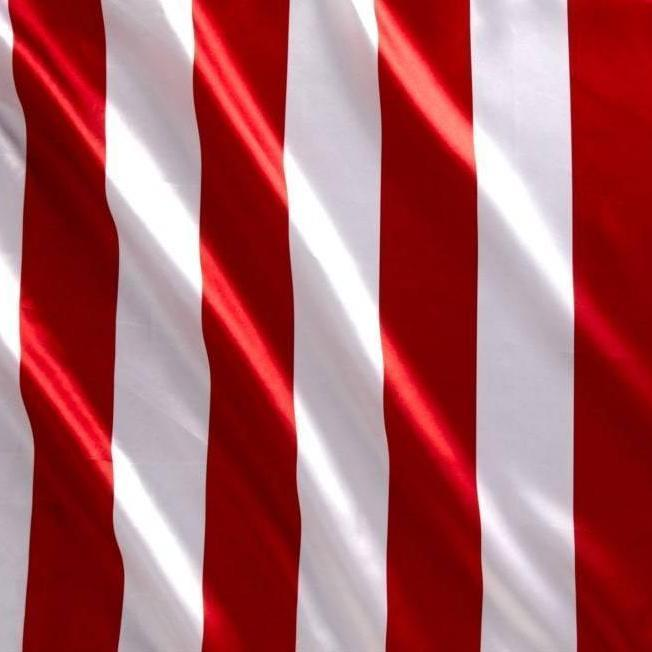 "Red White Stripe 1"" inch Satin Fabric"