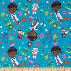 Disney Doc McStuffins Green 100% Cotton Fabric