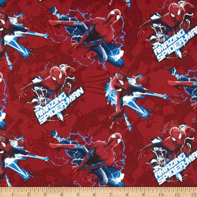 Marvel Comics Spiderman Electric Toss Red 100% Cotton Fabric