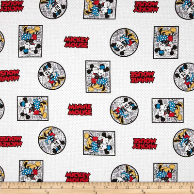 Disney Mickey & Minnie Framed White 100% Cotton Fabric