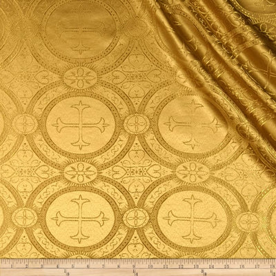 Gold Metallic Church Cross Brocade fabric