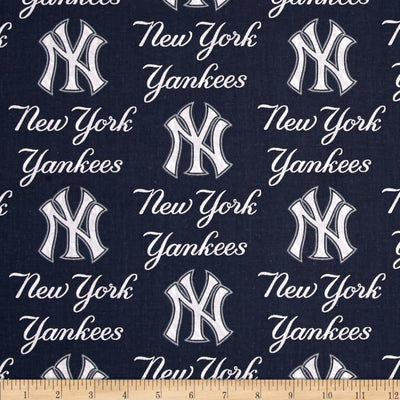 MLB Broadcloth New York Yankees Blue 100% Cotton Fabric