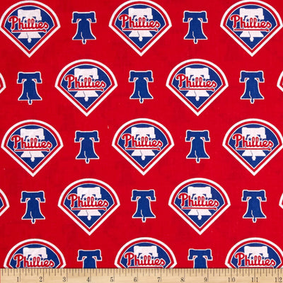 MLB Broadcloth Philadelphia Phillies Red 100% Cotton Fabric