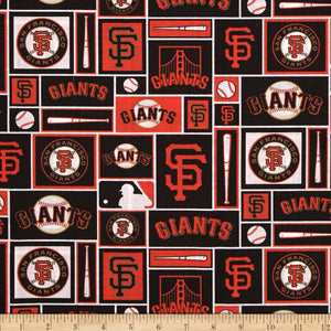 MLB Broadcloth San Francisco Giants Orange/Black 100% Cotton Fabric