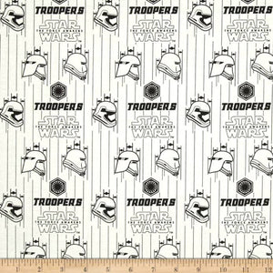 Star Wars The Force Awakens Storm Troopers White 100% Cotton Fabric