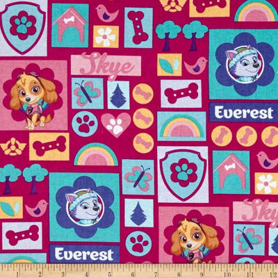 Nickelodeon Paw Patrol Skye and Everest Hot Pink 100% Cotton Fabric