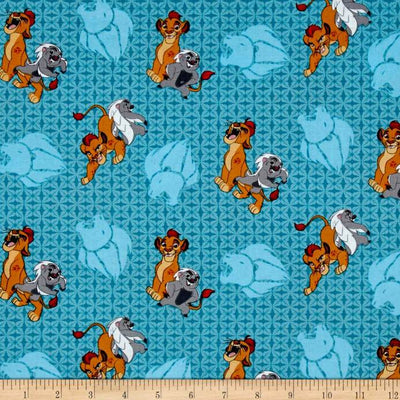 Disney Lion Guard Friend Power Turquoise 100% Cotton Fabric