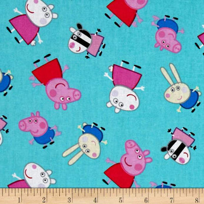 Peppa Pig and Friends Aqua 100% Cotton Fabric