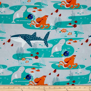 Disney Finding Dory Main Characters Grey Fabric 100% Cotton Fabric