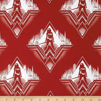DC Comics Batman v Superman Dawn of Justice Wonder Woman Silhouette Dark Red 100% Cotton Fabric