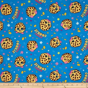 Moose Shopkins Kooky Cookie Toss Jersey Knit Blue 100% Cotton Fabric