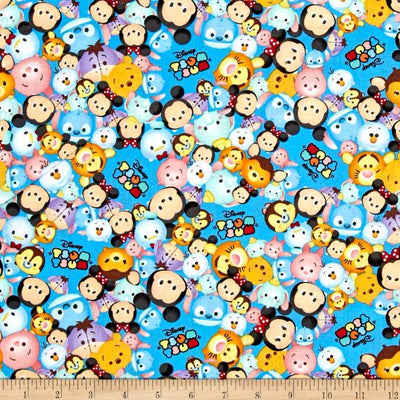 Disney Tsum Tsum Packed With Logo Blue 100% Cotton Fabric