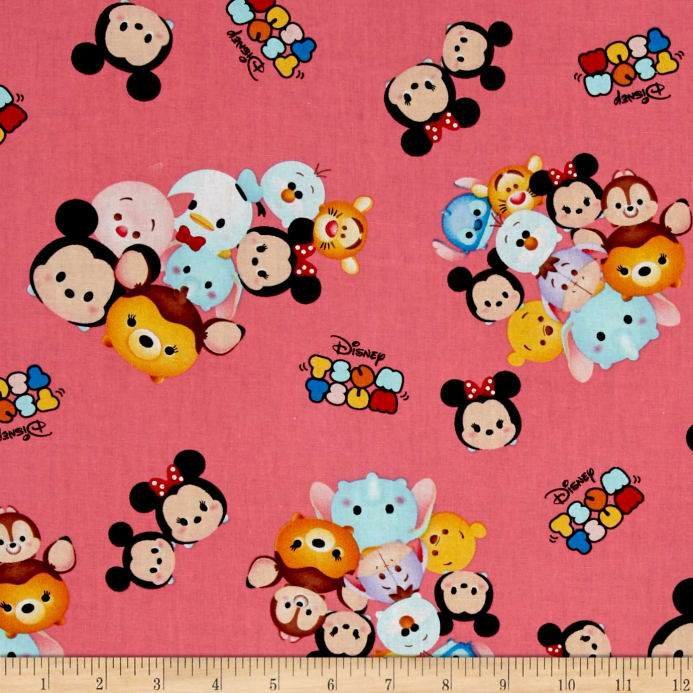 Disney Tsum Tsum Group Toss With Logo Pink  100% Cotton Fabric