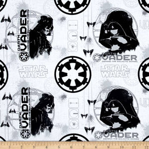 Rogue One: A Star Wars Story Darth Vader White 100% Cotton Fabric