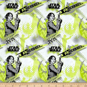 Rogue One: A Star Wars Story Jyn Erso Lime 100% Cotton Fabric