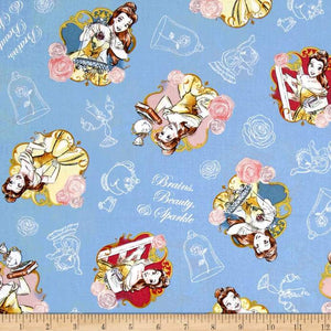 Disney Beauty Brains Beauty Sparkle 100% Cotton Fabric