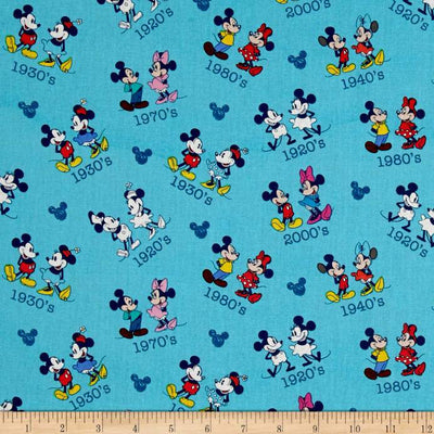 Disney Mickey & Minnie Vintage 100% Cotton Fabric
