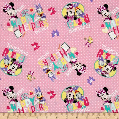 Disney Minnie Pink Happy Helpers On Call Pink 100% Cotton Fabric