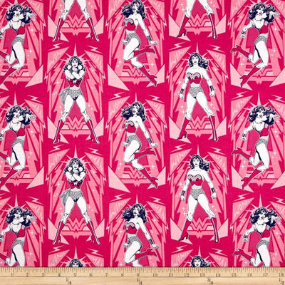 DC Comics Wonder Woman Poses Magenta 100% Cotton Fabric