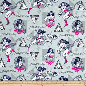 DC Comics Wonder Woman Strength & Power Light Grey 100% Cotton Fabric