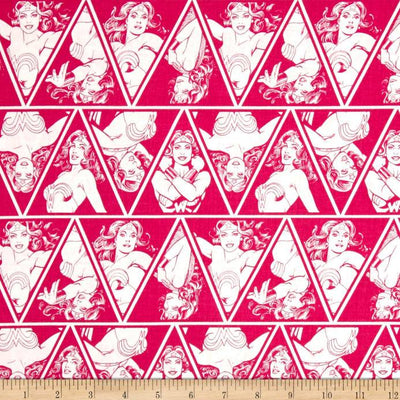 DC Comics Wonder Woman Triangles Magenta 100% Cotton Fabric