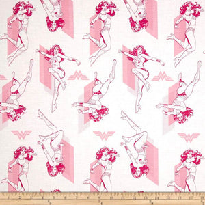 DC Comics Wonder Woman Outline Pink 100% Cotton Fabric
