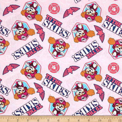 Nickelodeon Paw Patrol Pup To The Skies Pink 100% Cotton Fabric