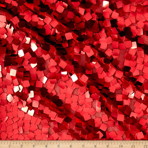 Red Square Dazzle on Mesh Sequin Fabric