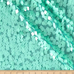 Mint Square Dazzle on Mesh Sequin Fabric