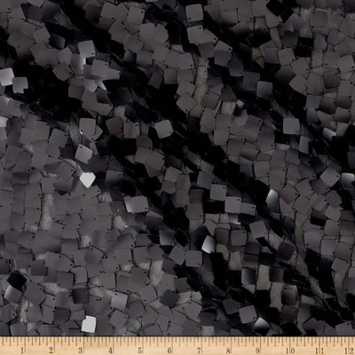 Black Square Dazzle on Mesh Sequin Fabric