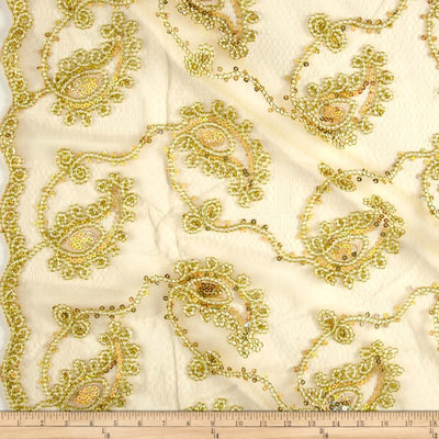 Gold Coco Paisley Sequin Double Border Lace Fabric