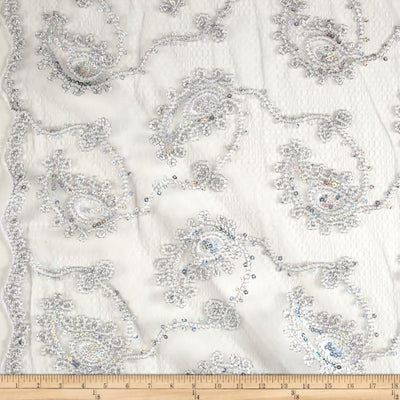 Silver Coco Paisley Sequin Double Border Lace Fabric