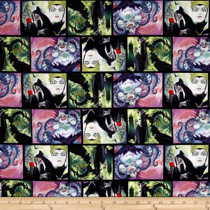 Disney Villains Villains Patch Movie Art 100% Cotton Fabric