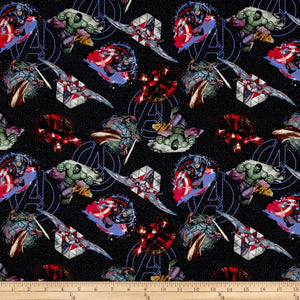 Marvel Avengers Badges 100% Cotton Fabric