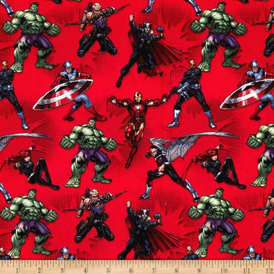 Marvel Avengers Action Red 100% Cotton Fabric