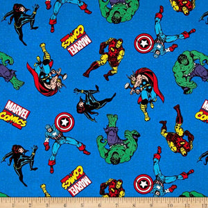 Marvel Retro Comics Comic Action Blue 100% Cotton Fabric