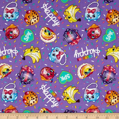 Moose Shopkins Color Me Happy 100% Cotton Print Fabric