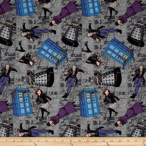 BBC Doctor Who Character Toss Gray 100% Cotton Fabric