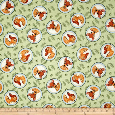 Disney Bambi Badge Green 100% Cotton Print Fabric