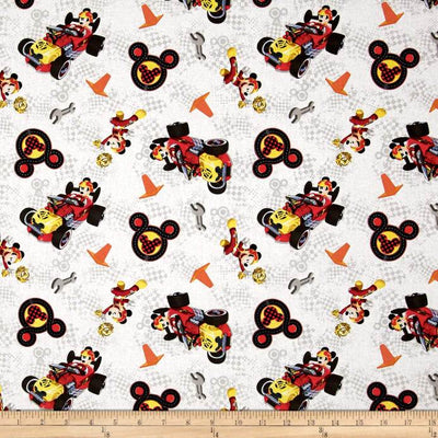 Disney Mickey & Friends Winner's Circle White 100% Cotton Fabric