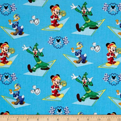 Disney Mickey & Friends Racing Blue 100% Cotton Fabric