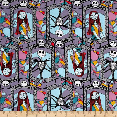 Disney Nightmare Before Christmas Sally And Jack 100% Cotton Fabric