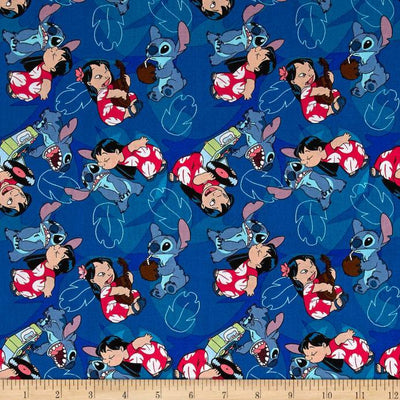 Disney Lilo & Stitch Friends Forever Blue 100% Cotton Fabric