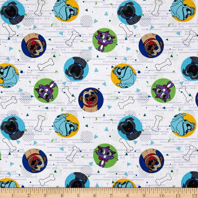 Disney Puppy Dog Pals Dog Pals White 100% Cotton Fabric