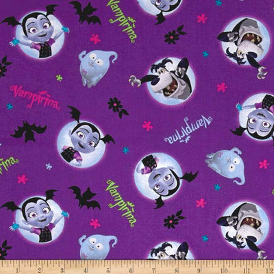 Disney Vampirina And Friends Purple  100% Cotton Fabric