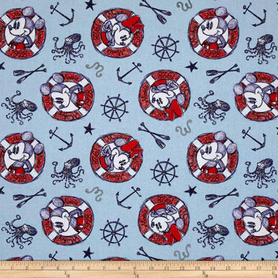 Disney Mickey And Minnie Since 1928 Nautical Sailing 100% Cotton Fabric