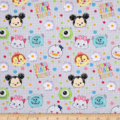 Disney Tsum Tsum I Love My Friends White 100% Cotton Fabric
